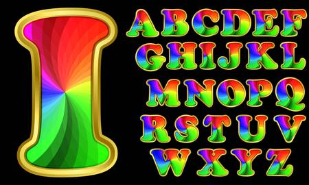 Colorful rainbow alphabet with golden frame, letters from A to Z, vector illustration  Vector
