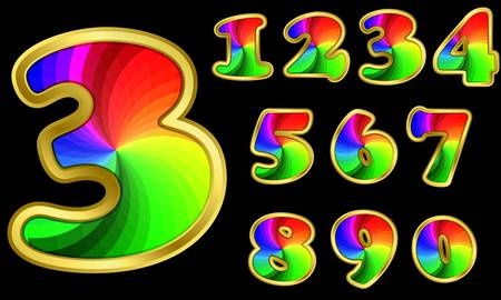 arabic number: Colorful rainbow numbers set with golden frame, from 1 to 9, vector illustration Illustration