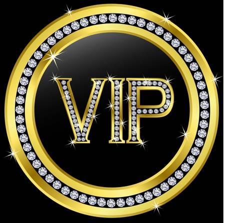 Vip with diamonds, vector  Illustration
