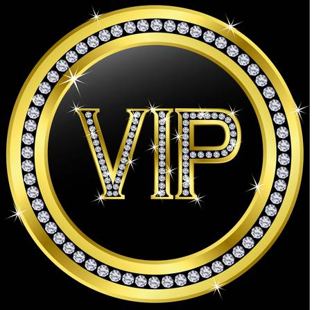diamond letters: Vip with diamonds, vector  Illustration