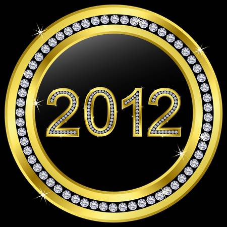 New year 2012 icon with diamonds, vector  Vector