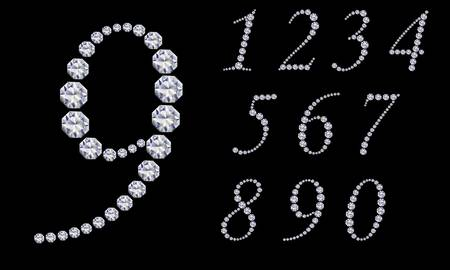 0 6: Diamond number set, from 1 to 9, vector illustration  Illustration