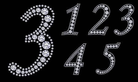 arabische letters: Diamond aantal set, 1-9 Stock Illustratie