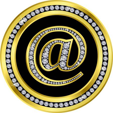 webhosting: e mail icon ,golden sign with diamonds Illustration