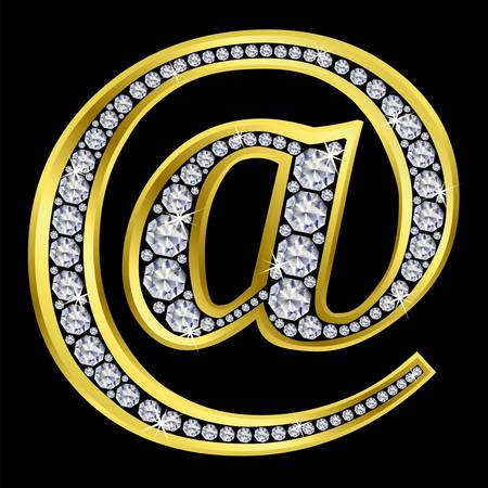 hyperlink: e mail icon ,golden sign with diamonds Illustration