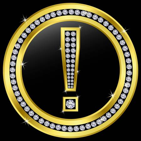 exclamation icon: Exclamation icon, golden button with diamonds