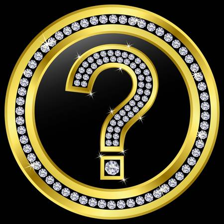 dubious: Question icon, golden button with diamonds