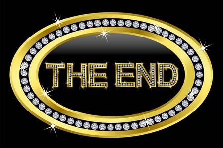 The end icon, golden button with diamonds Vector
