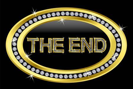 The end icon, golden button with diamonds Stock Vector - 11126166