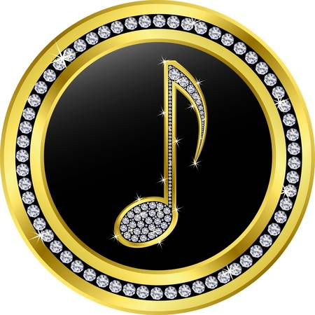 music note button, golden with diamonds Stock Vector - 11126098
