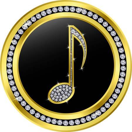 melancholy: muzieknoot-knop, goud met diamanten