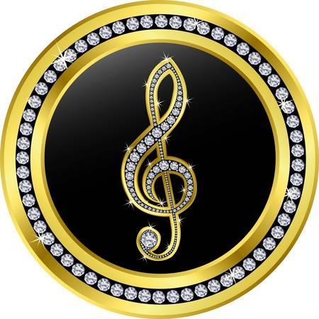 musically: chiave di violino pulsante, d'oro con diamanti