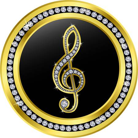 treble clef button, golden with diamonds Vector