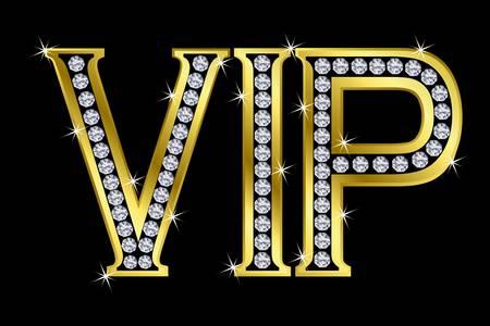 vip symbol: Vip de oro con diamantes Vectores