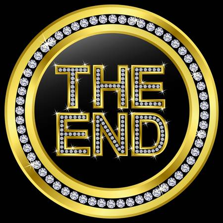 The end icon, golden button with diamonds Stock Vector - 11126089