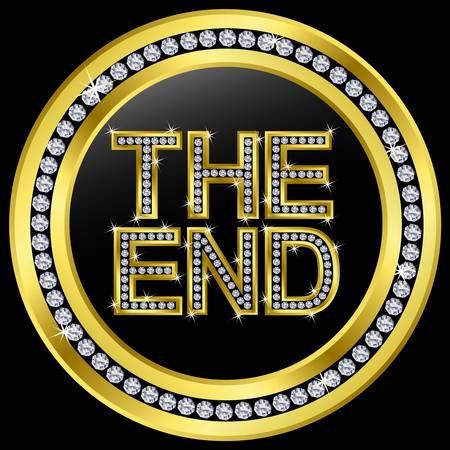 The end icon, golden button with diamonds Stock Vector - 11126089