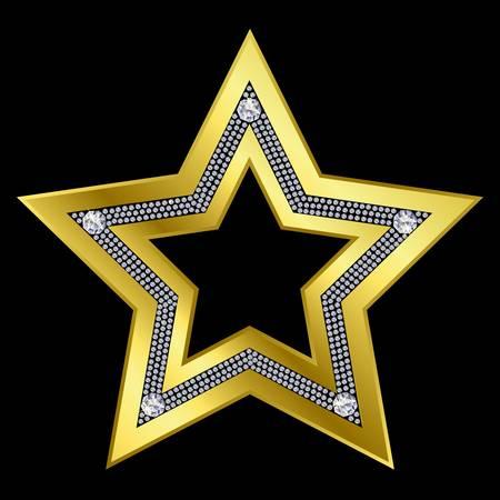 Golden star with diamonds Stock Vector - 11126092