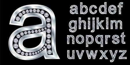 letras cromadas: Alfabeto de plata con diamantes, letras de la A a la Z