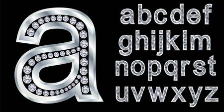platinum background: Silver alphabet with diamonds, letters from A to Z