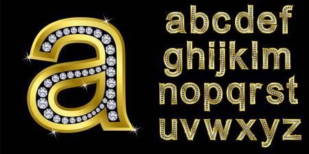 Alphabet d'or avec des diamants, des lettres de A � Z pour