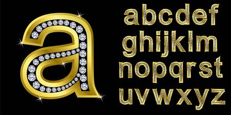 Golden alphabet with diamonds, letters from A to Z Stock Vector - 11126211
