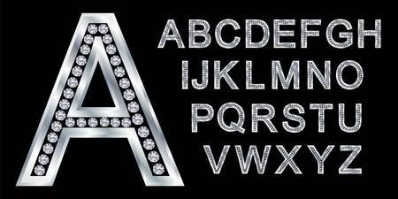 chrome letters: Alfabeto de plata con diamantes, letras de la A a la Z