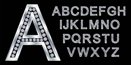 Silver alphabet with diamonds, letters from A to Z Stock Vector - 11126213