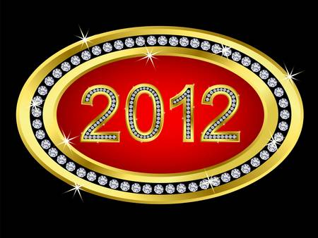 New year 2012 icon golden with diamonds Vector