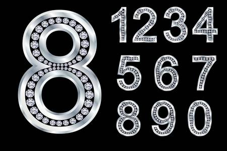 0 6: Numbers set, from 1 to 9, silver with diamonds Illustration