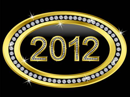 New year 2012 icon with diamonds  Vector