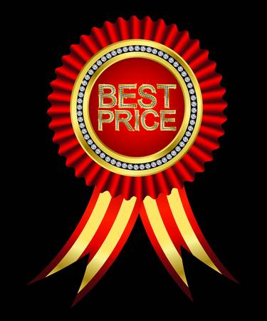 Best price, golden labels with diamonds and ribbons Vector