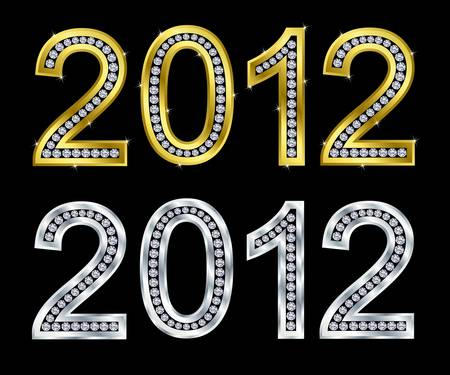 New year 2012 golden and silver with diamonds Vector