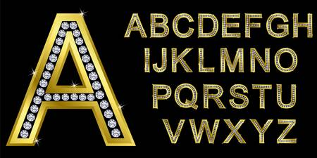 Golden alphabet with diamonds, letters from A to Z Vector