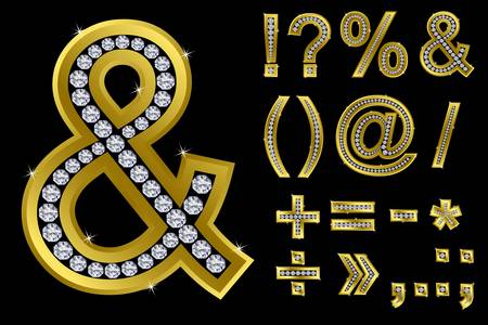 Golden font symbol and mathematical symbol set  Vector