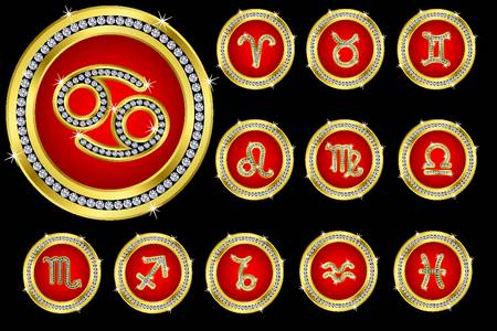 Zodiac signs, golden buttons with diamonds Vector