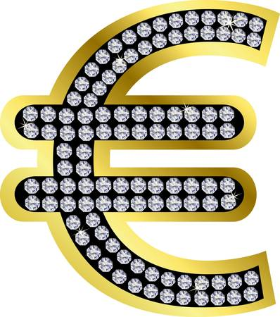 Euro golden sign with diamonds Illustration