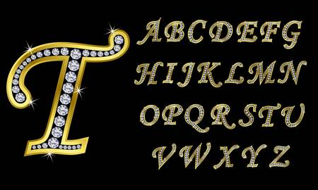 Golden alphabet with diamonds, letters from A to Z