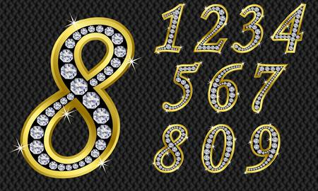 diamond letters: Number set, from 1 to 9, golden with diamonds  Illustration