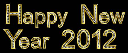 New year 2012 golden with diamonds Vector