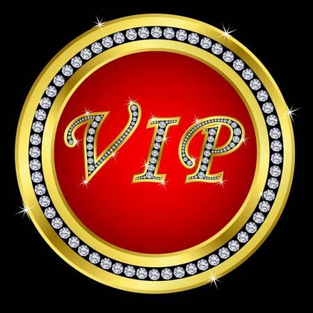 vip symbol: Vip golden icon with diamonds Illustration