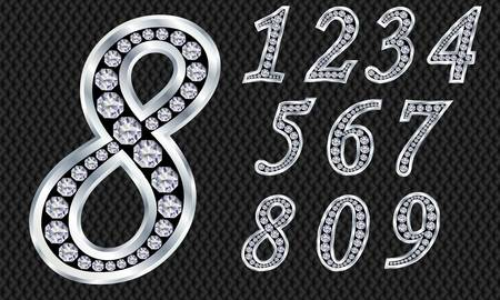 arabic number: Numbers set, from 1 to 9, silver with diamonds Illustration