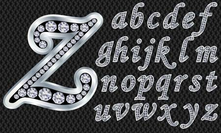 Silver alphabet with diamonds, letters from A to Z Vector