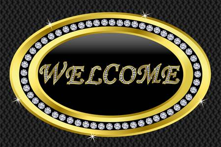 gold button: Welcome icon, golden sign with diamonds Illustration