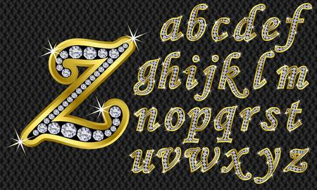 alphabet letters: Golden alphabet with diamonds, letters from A to Z