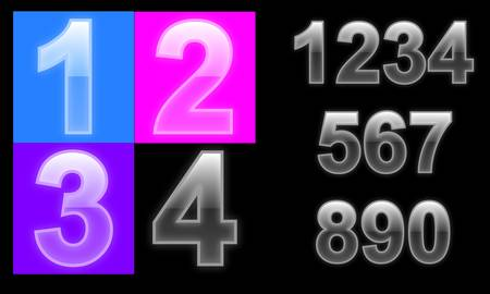 Glass number set, plastic numbers from 1 to 9 Vector