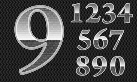 numerals: Glass number set, plastic numbers from 1 to 9