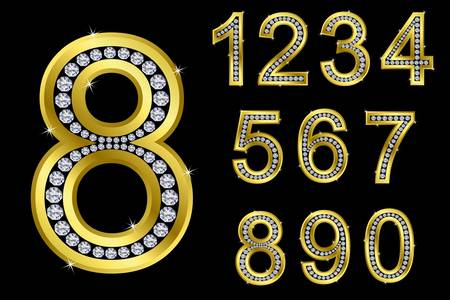 Number set, from 1 to 9, golden with diamonds, vector illustration  Vector
