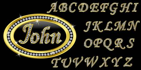 golden font: Golden icon with name, alphabet with diamonds, letters from A to Z, vector illustration