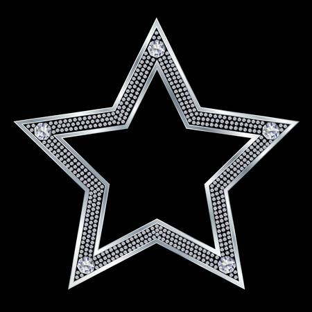 Silver star with diamonds, vector  Illustration
