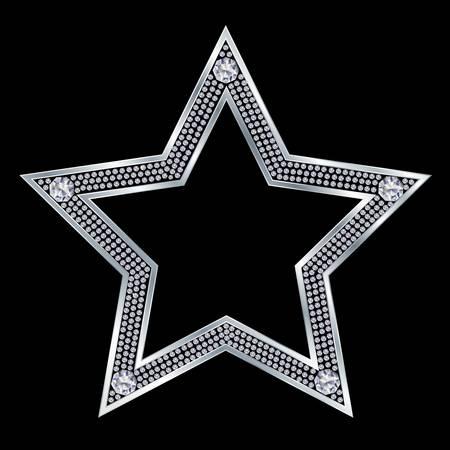diamond jewelry: Stella d'argento con diamanti, vettore